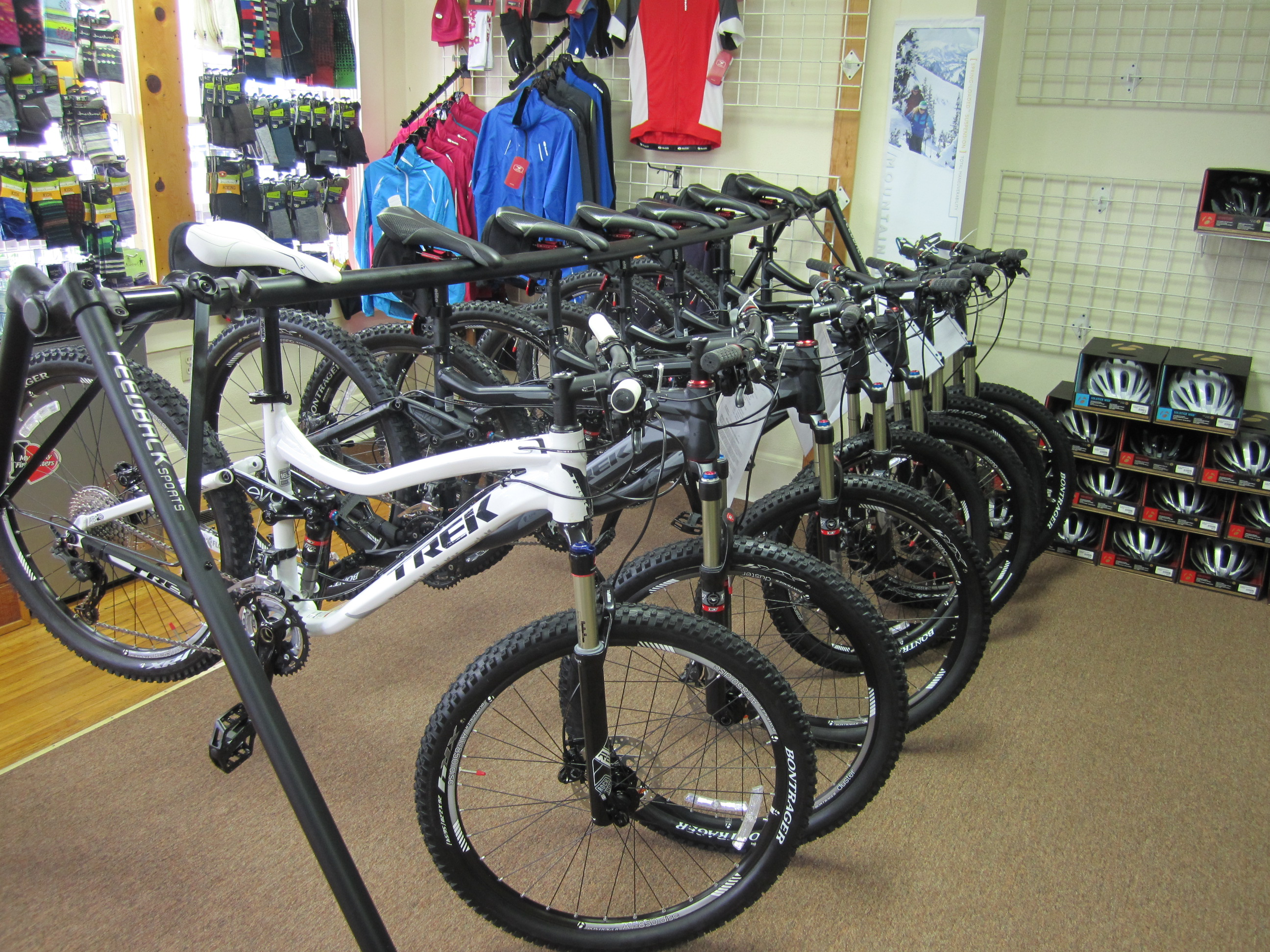 These are the full suspension bikes; Trek Fuel EX 8's and Lush S. We also have hardtails; Mambas and Marlins