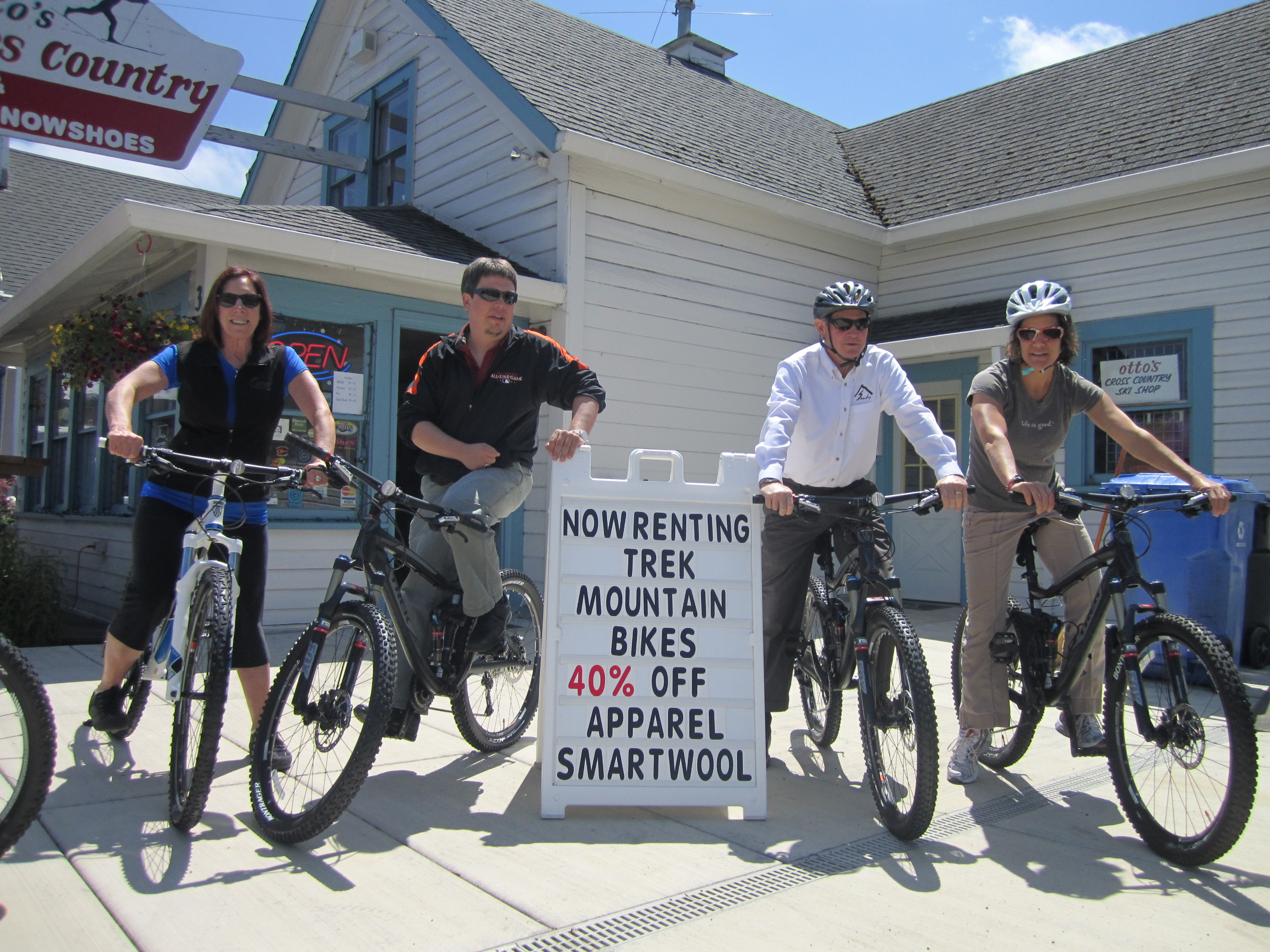 Left to Right. Andreanne Rode, owner of Otto's, Dave synder, Scott Lazenby and Carol Cohen from the City of Sandy who supported us in our Quest to bring mountain bikes to Sandy.